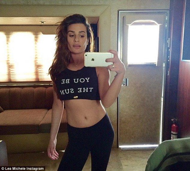 Svelte: Lea Michele shared a mirror selfie showing off her toned torso with her top rolled up on Instagram Tuesday