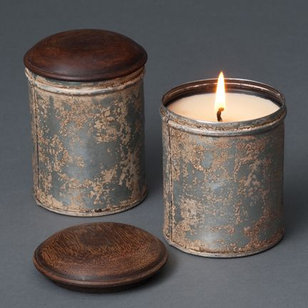 "Deliciously scented soy candles in replicas of antique spice tins with fragrances like ""campfire"" and ""bourbon vanilla."""