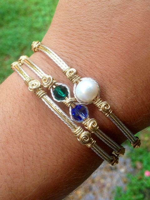Wire Wrapped Silver and Gold Bracelet Set Birthstone Jewelry Personalized Rose Bracelet