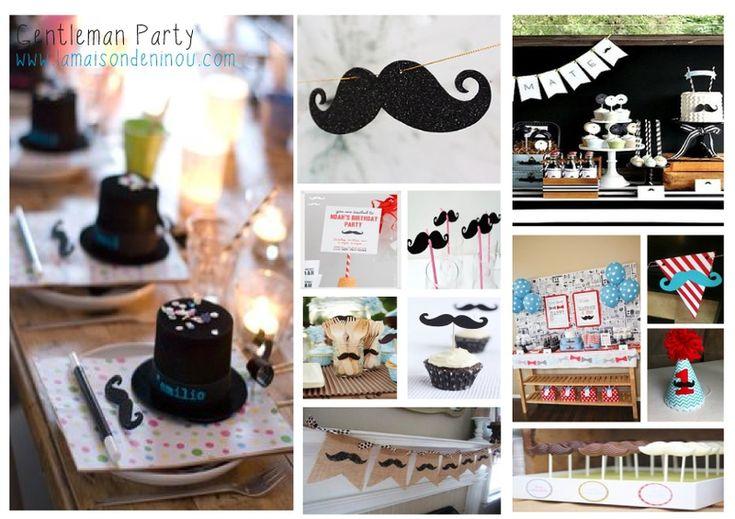 Inspirations deco anniversaire enfant moustache la maison de ninou vous inspire pinterest Idee deco anniversaire garcon