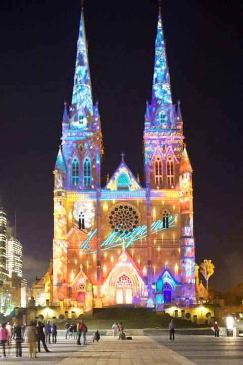 Australia - St Mary's Cathedral lit up as part of the Vivid light festival in Sydney every year