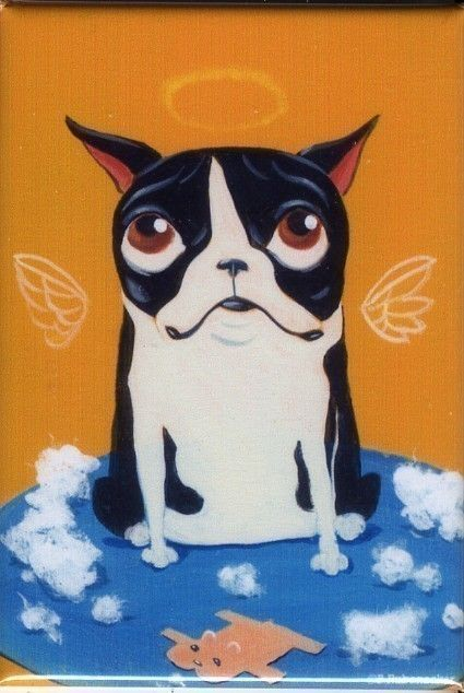 Boston terrier destuffing a toy magnet by rubenacker on Etsy, $4.25