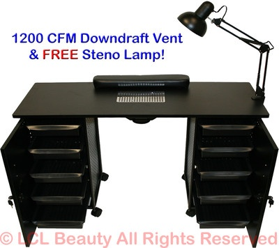 Vented Manicure Nail Table Station Black Steel Frame Beauty Spa Salon Equipment | eBay