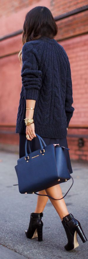 All Navy Fall Outfit by Song Of Style + MICHAEL Michael Kors Navy Selma