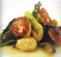 """JANNA GUR - Chicken Patties with Swiss Chard, Leeks and Celery #meatballs """" great with so,e turmeric, chili flakes and chickpeas in the sauce"""