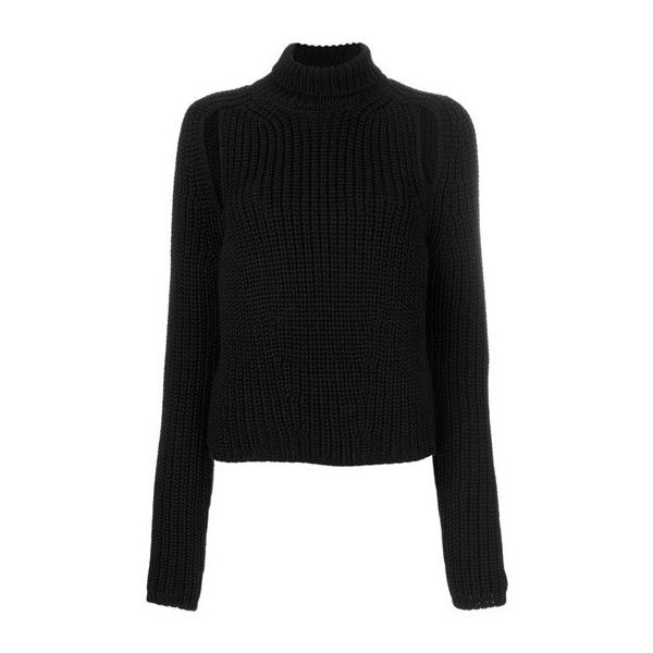 CALVIN KLEIN 205W39NYC Slit Detailing Turtleneck Jumper ($852) ❤ liked on Polyvore featuring tops, sweaters, black, jumper top, polo neck sweater, wool sweaters, turtle neck jumper and polo neck jumper