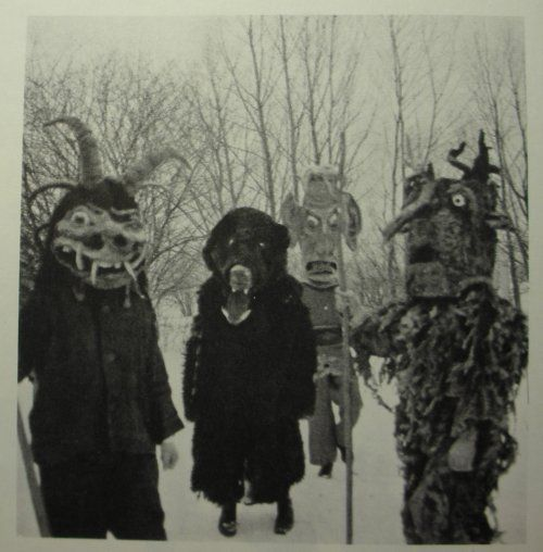 """Masked figures from the """"Wilde Jagd"""" Christmas folklore festivity in Salzburg, Austria"""