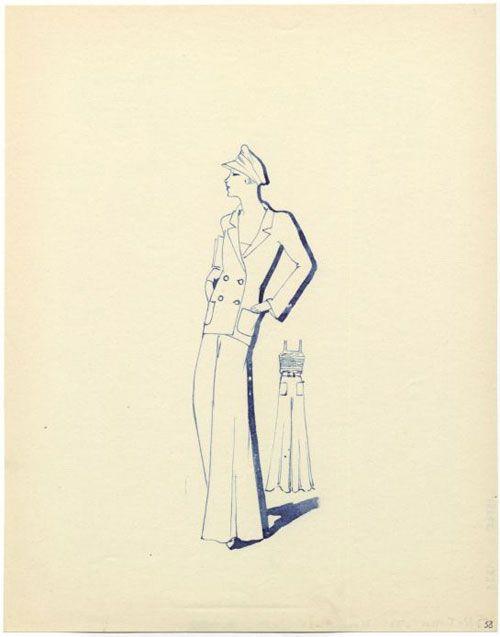 Design Sketch of Beach Pajamas, Molineux et Cie, March 1931