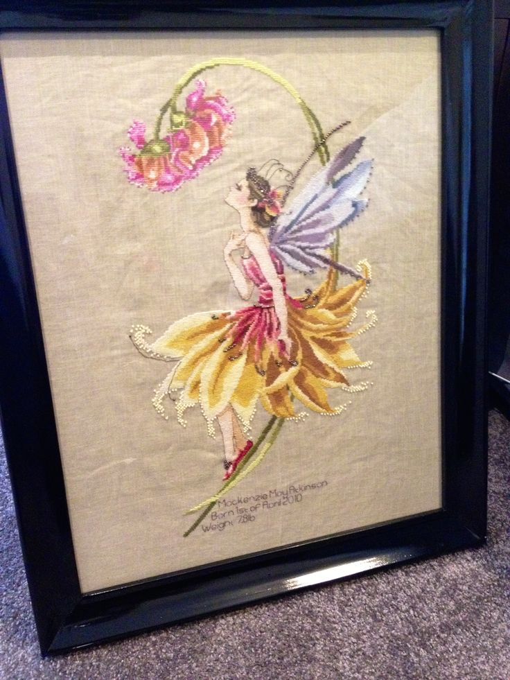 A cross stitch of  'The Petal Fairy' for my daughter by Mirabilia Designs.