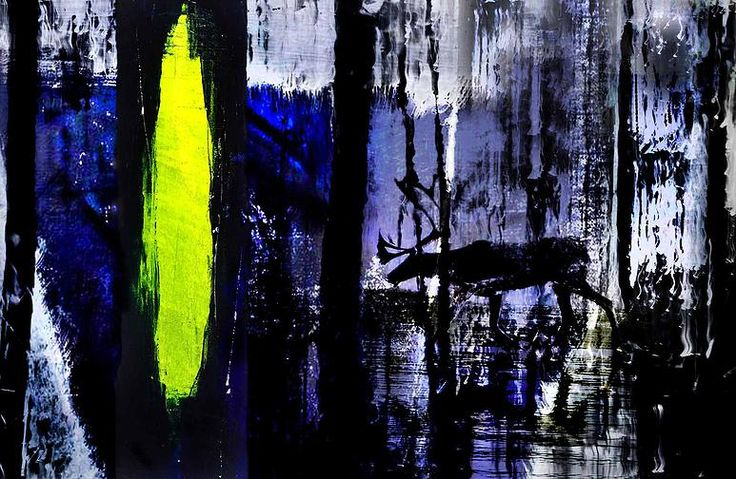 Reindeer in Blue Wood by Nordic Art 365