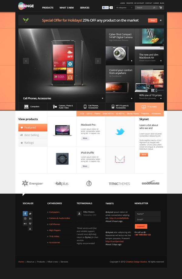 Orange - eCommerce Multipurpose PSD Template on Web Design Served