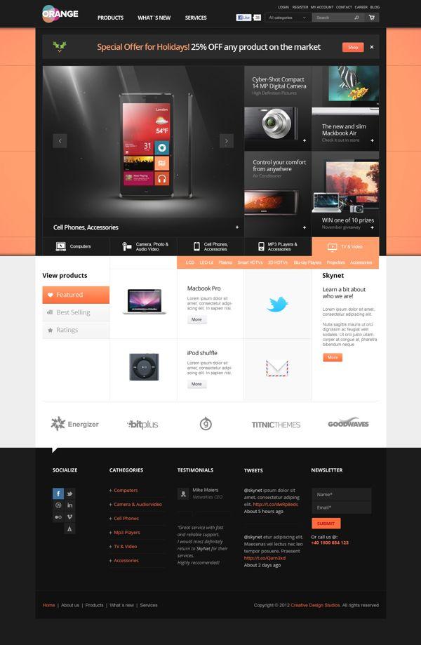 Orange - eCommerce Multipurpose PSD Template on Web Design Served