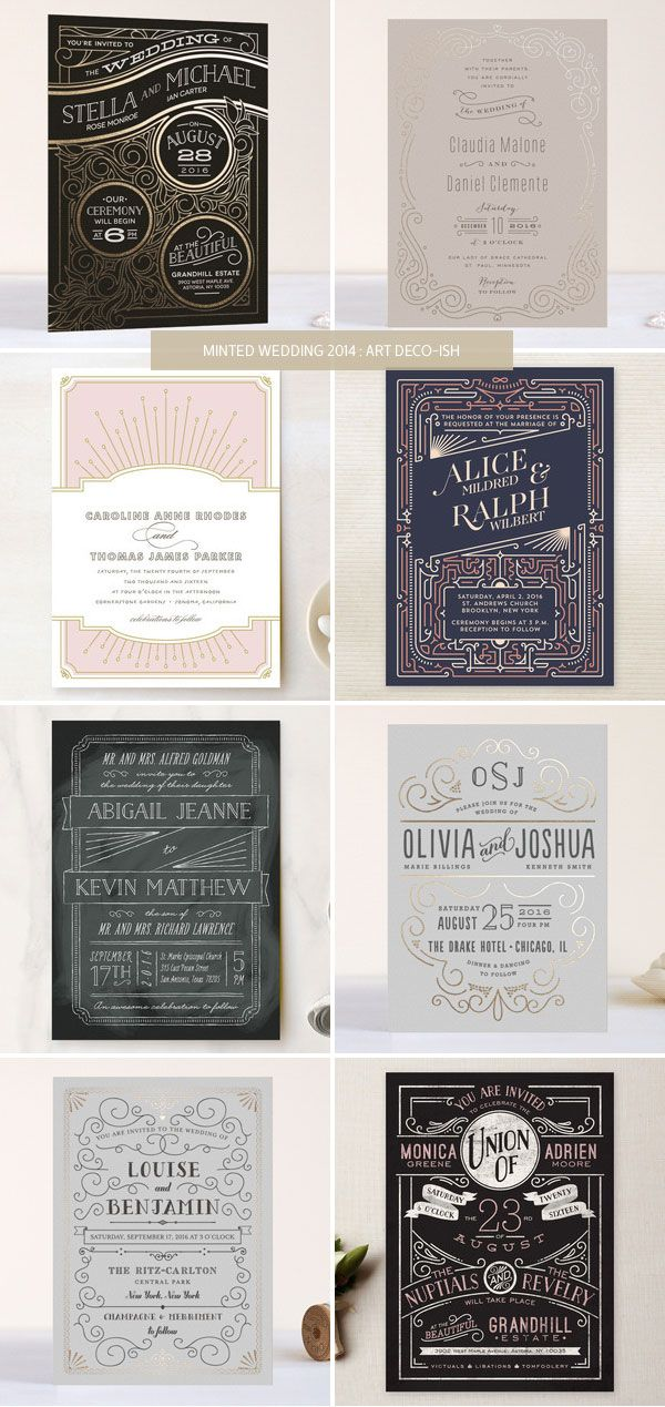 Art Deco-ish style invites from the Minted 2014 wedding invitation collection.