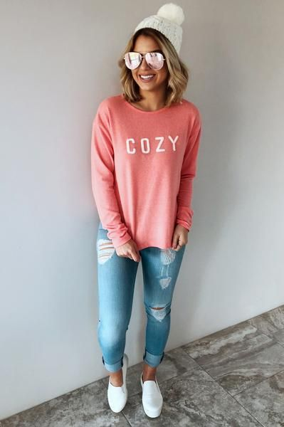 "Beanie hat - ""cozy"" long sleeve t-shirt + skinny jeans + white slip-on sneakers"