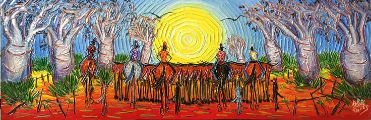 """Ringers Through The Boabs"" The top end of Australia Acrylic on canvas Ray Reeves"