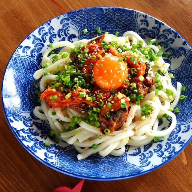 さんま蒲焼缶の一番ウマ死な喰い方は「さんま缶キムチうどん」かもしんない!!