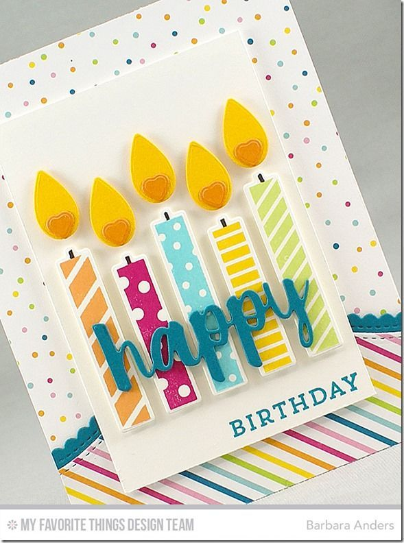 Birthday Card - I don't have these exact stamps or dies, but I think I could do something similar with patterned paper (candles) and a flower petal (flame).