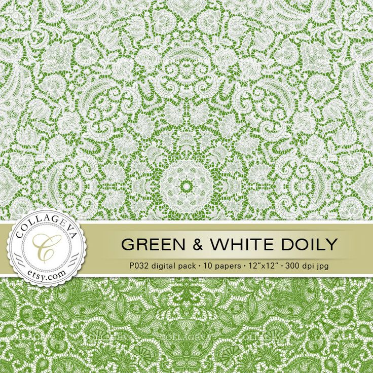 """Green & White Doily (P032) Digital Pack 10 Printable Paper 12x12"""" Lace Crochet, lime kiwi olive grass green, Shabby Chic Scrapbook Papers by collageva on Etsy"""