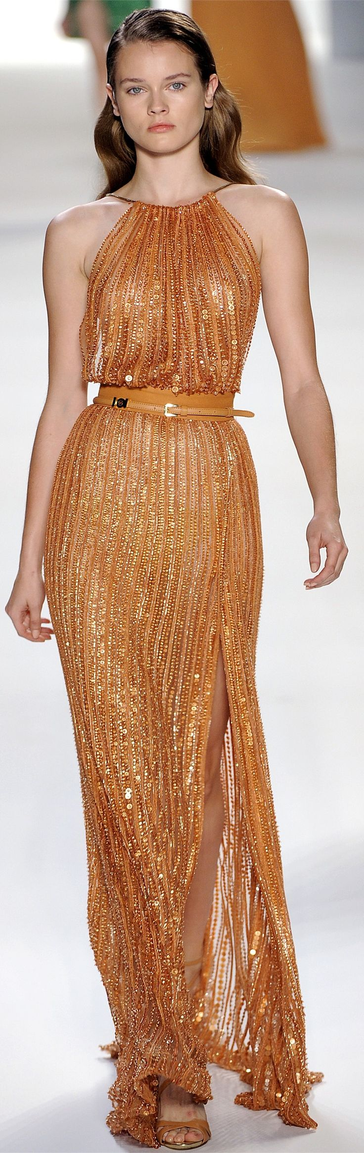 Elie Saab ~ Copper Metallic Halter Maxi 2012 bridesmaid dress