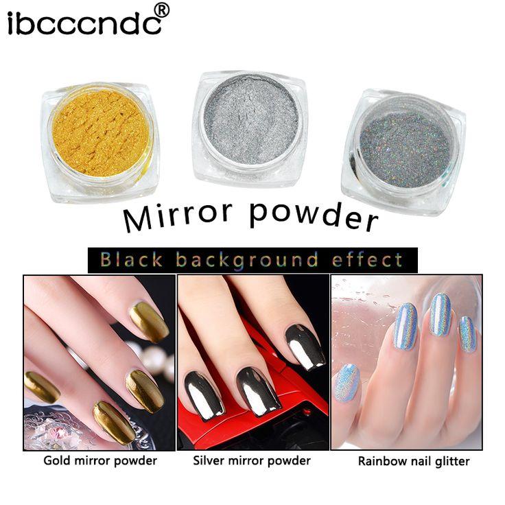 3pcs Gold Sliver Holographic Mirror Nail Glitter Powder Chrome Pigment Fine Glitters Dust Aluminium Powder Nail Art Decoration