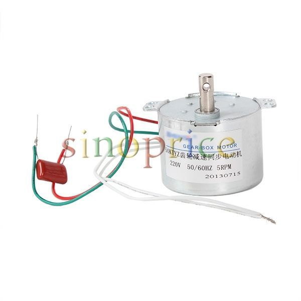 ~ $13 ~ Synchromesh Gear Box Electric Gear Reducer Motor AC 220V 5 RPM Reversible