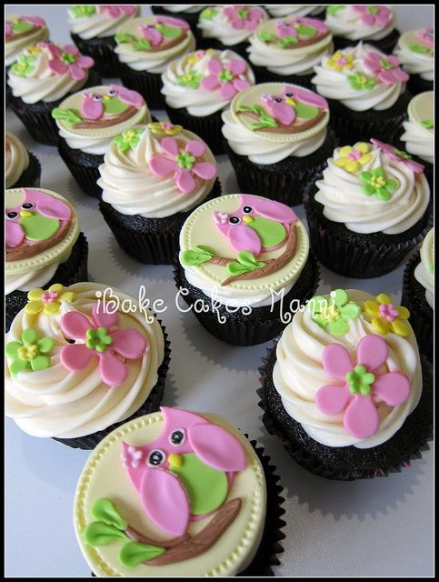 Owl Birthday Cakes for Girls | owl cupcakes by iBake Cakes | Girls Birthday Cake and Party Ideas