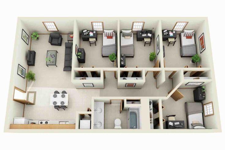 Luxury Apartment Plans 3d Contemporary 3d Floor Plans Imanada