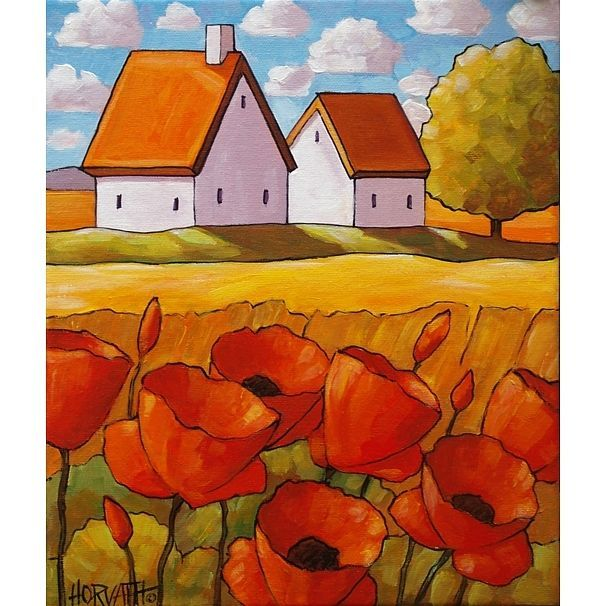 10x12 ORIGINAL PAINTING Acrylic on Canvas FOLK ART LANDSCAPE Poppies by Horvath