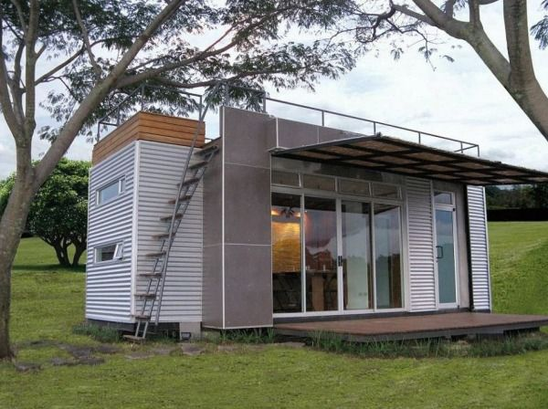 160 sq ft, 20′ Shipping Container With A Rooftop Deck and Room for Four | Tiny Homes