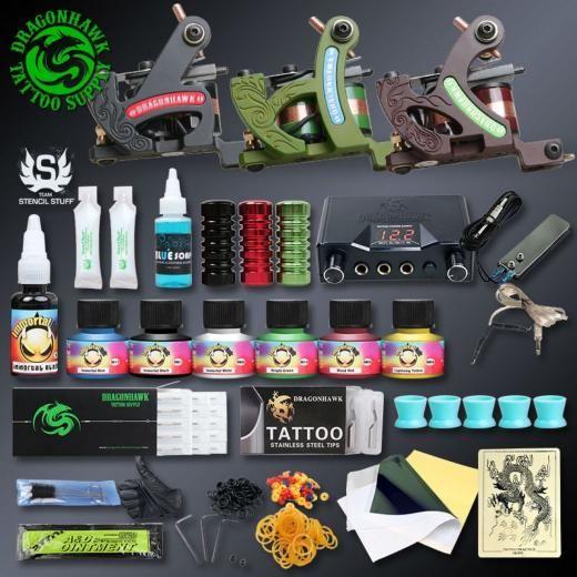 Professional Tattoo China Kits Complete Set Machine Gun Lining And Shading Inks Dragonhawk Professionaltattoo001 001 No