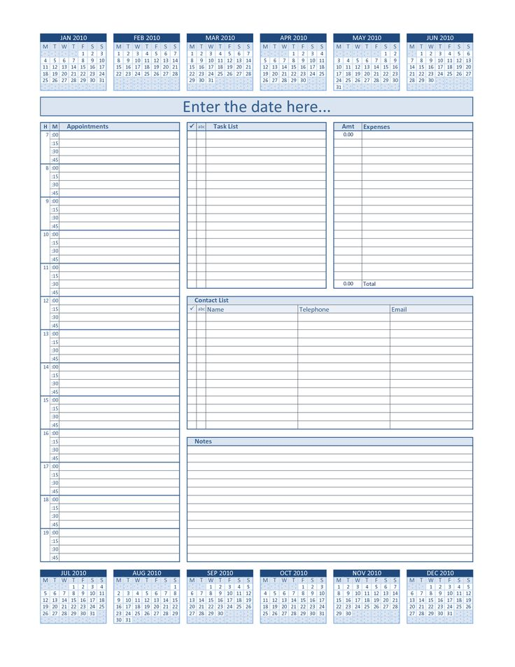 A free daily planner spreadsheet for printing your own planner - free daily calendar template with times
