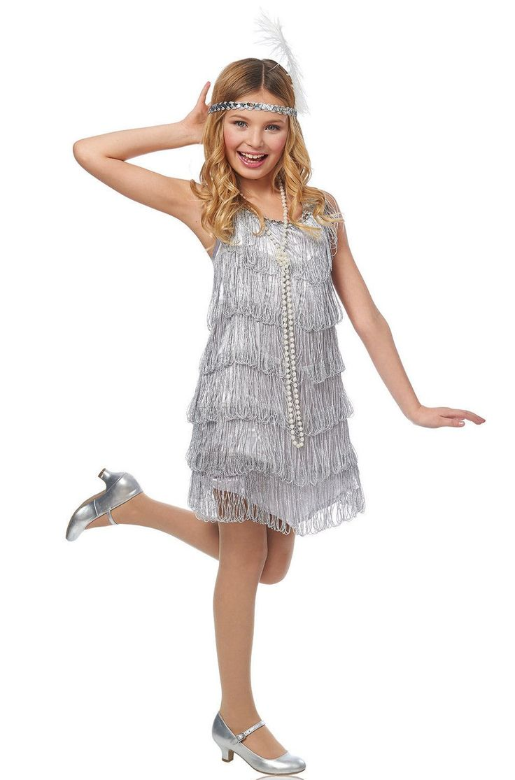 #49462 Get on your glad rags with this fabulous flapper costume! Featuring a silver dress with plenty of fringe and a matching headpiece, this costume is just what you need for a swinging good time! I