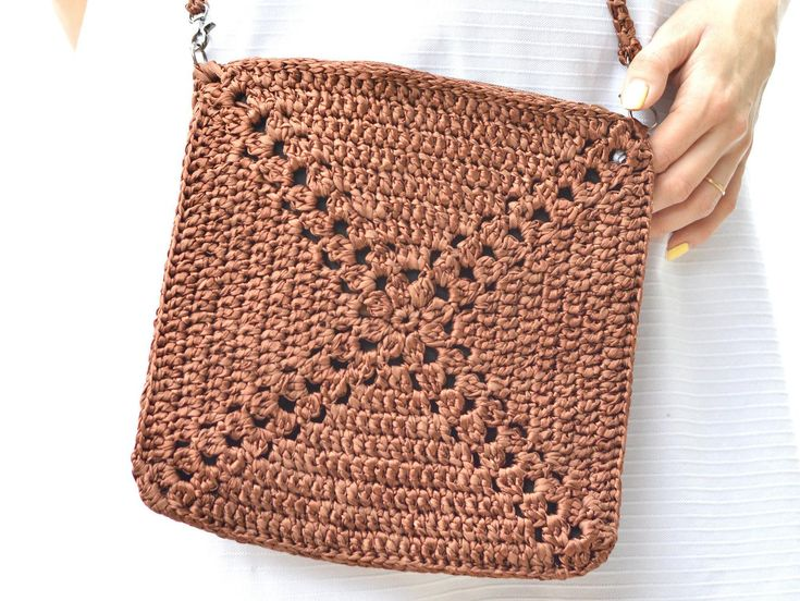 Crochet crossbody bag Coffee brown purse Knit small bag | Etsy
