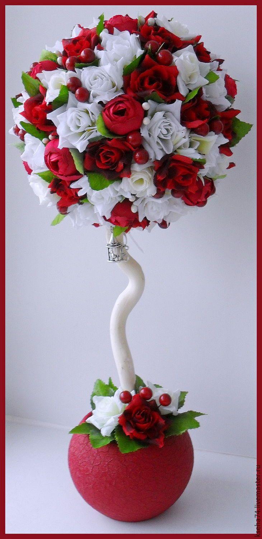 Купить Топиарий-дерево счастья и благополучия - бордовый, красный, белый цвет, топиарий
