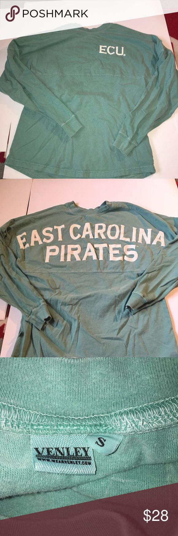 East Carolina University long sleeve Eat Carolina University ( ECU ) lettered long sleeve t-shirt. The color is a darker sea foam. The letters are still in great condition. No trades. Paid over $45! Size small Tops Tees - Long Sleeve