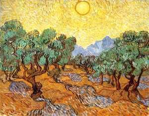 Olive Trees With Yellow Sky And Sun  Vincent Van Gogh