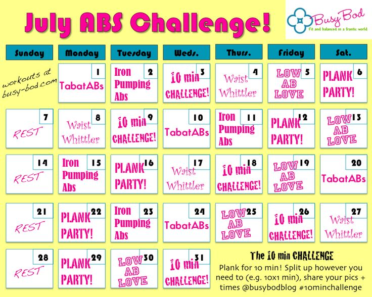 Abs challenge for July! 10min workouts to work your whole core all month long - who's doing it with me?
