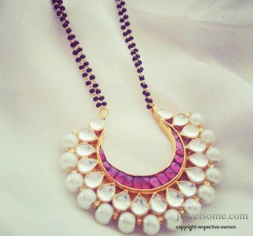 Beautiful Mangalsutra design in kundan. Indian fashion.