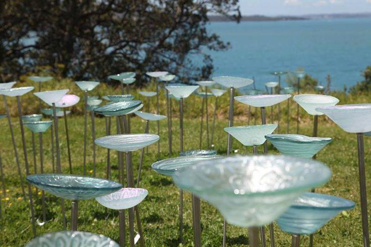 Water bowls - New Zealand Glass Art for the garden.