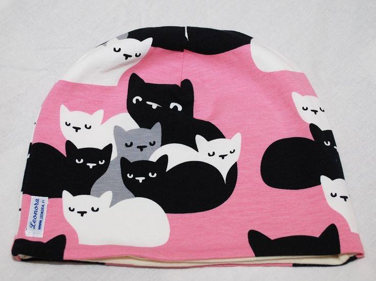 Cats organic cotton jersey beanie, size 57cm, Leonora