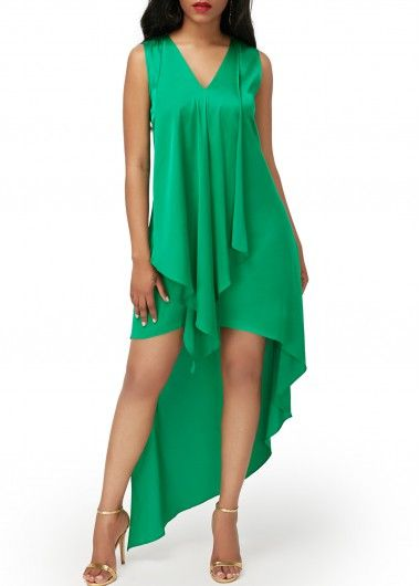 Sleeveless Asymmetric Hem V Neck Green Pajamas Dress, soft fabric and better service at rosewe.com, check it out.