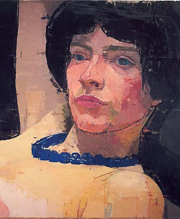 Artist: Euan Uglow (British, 1932–2000); Wandsworth, London {figurative impressionist art painter female head décolletage cropped woman face portrait painting #twentiethcentury #arthistory}