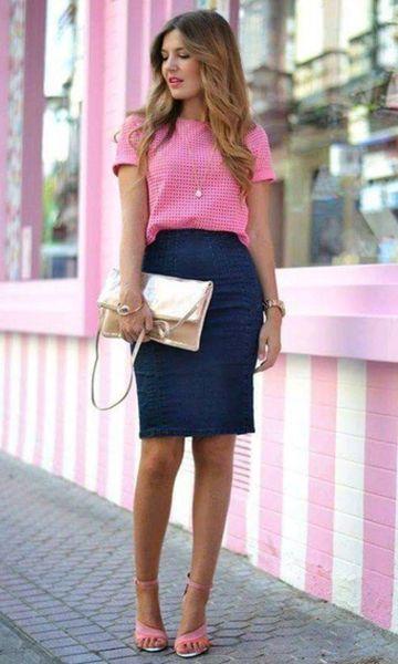 Look: Rosa + Saia Lápis Jeans
