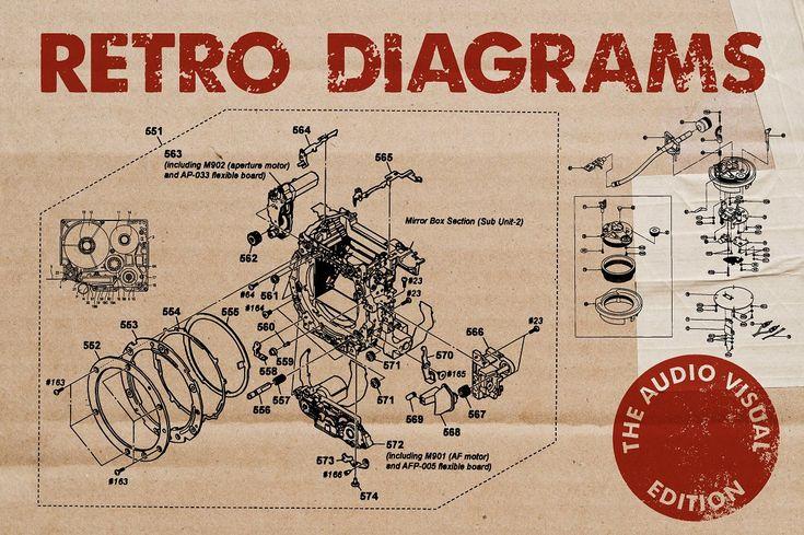 Retro Vector Diagrams - 32 Items - Illustrations