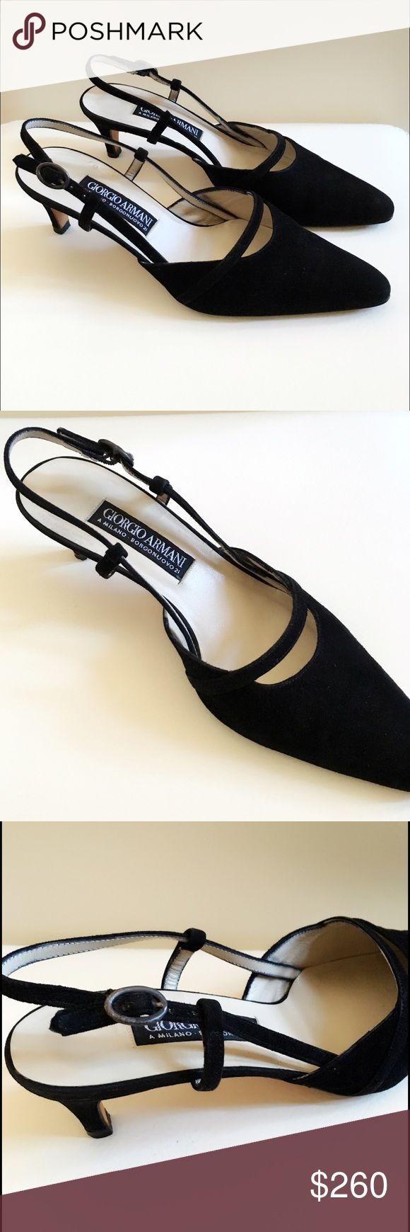 Giorgio Armani Black Suede Slingback Heels Black suede. Kitten heels (2 inches). Pointed toe. Giorgio Armani Shoes Heels