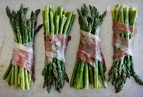Roasted Prosciutto Wrapped Asparagus Bundles -  I enjoyed a bundle with a poached egg for lunch and it was divine, great for brunch!