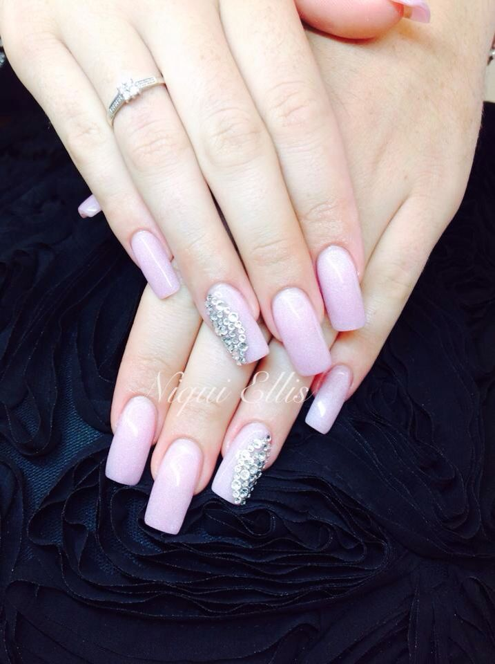 Baby pink shimmer bling x