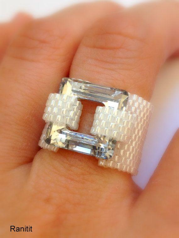 Swarovski ring/ Beaded ring/ Swarovski Crystal Jewelry/ by Ranitit