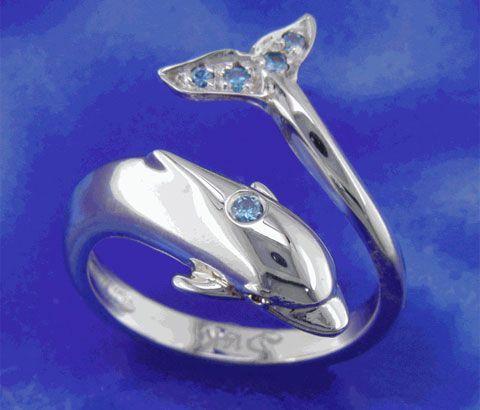 Blue Diamond Dolphin Ring - beautiful!