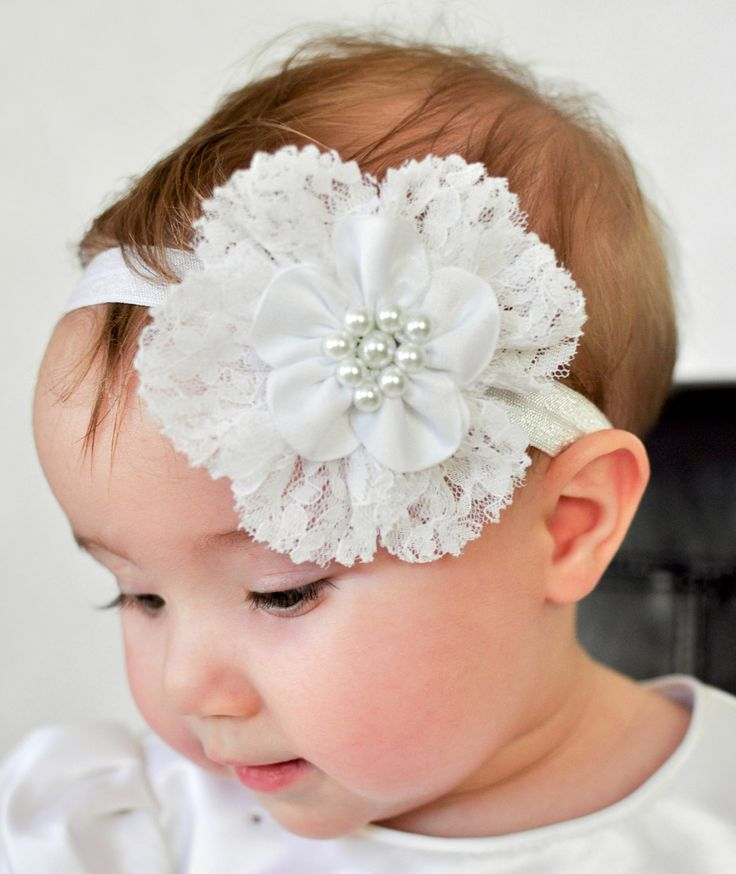 White Lace and Satin Flower Headband Baptism Christening Headband Custom Sized Newborn Infant Toddler Girls. $10.00, via Etsy.